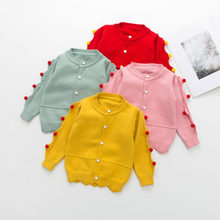 2177acc6c Toddler Girls Sweater Wavy Edge Hair Ball Cute Sweater Single-breasted  O-Neck Fashion