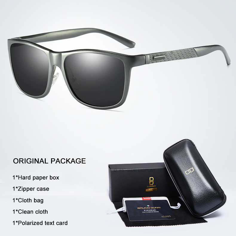Bruno dunn Sunglasses Men Polarized 2020 Luxury Brand square metal frame male sun glasses oculos de sol masculino 2140 ray uv400 6