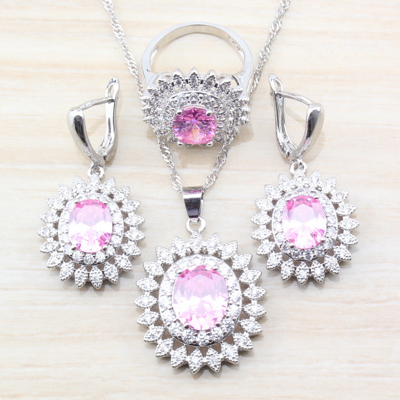 Birthday Party Young Accessories 925 Silver Pink Crystal Big Flower Jewelry Sets Dangle Earrings/Necklace Ring