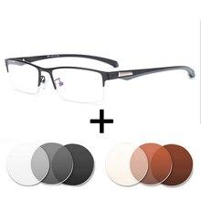 1,67 1,61 ИНДЕКС оптические очки Photochrom рецепт анти синий свет Óculos близорукость астигматизм для мужчин квадратный Халф рамки очки