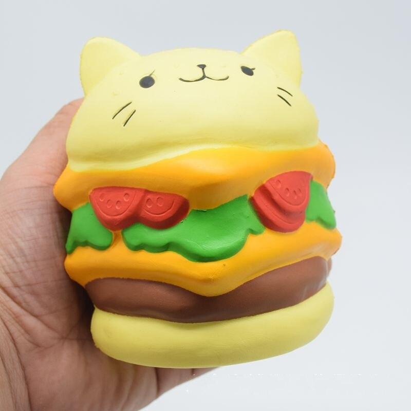 11 см мультфильм дети игрушка котенок Burger Форма мягкими игрушка-антистресс телефон Бретели для нижнего белья Мягкий squeeze прикол Игрушечные л...