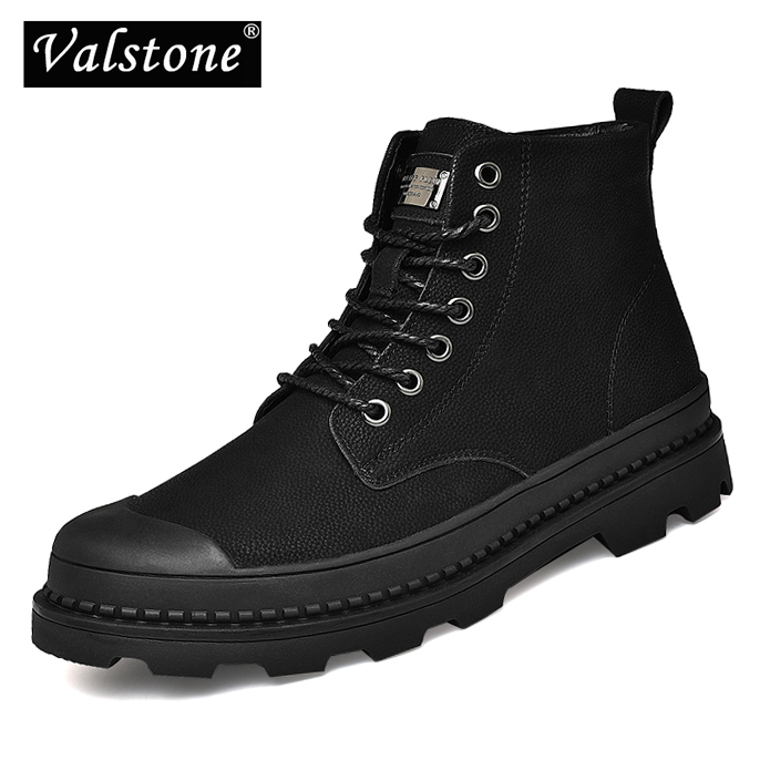 Valstone Men s retro boots Leather toe protect Work boots hot sale leather sneakers High Top