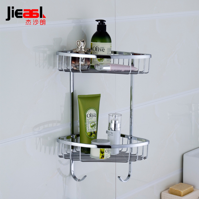 Jieshalang Br Bathroom Shelves Corner Shower Shelf For Wall Mounted Shampoo Holder Chrome Metal Storage