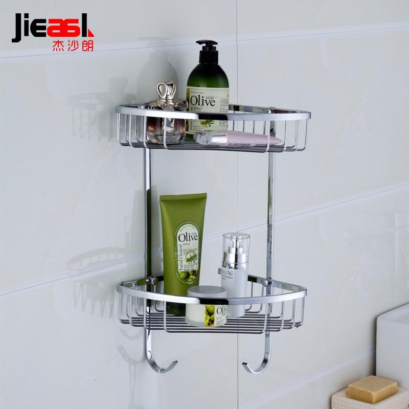 US $113.9  Jieshalang Messing Bad Regale Ecke Dusche Regal für Badezimmer  Wand Montiert Shampoo Halter Chrom Metall Lagerung Körbe-in  Badezimmerregale ...