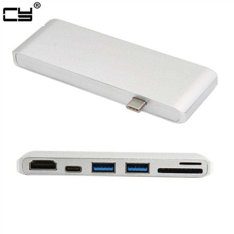 USB-C USB 3.1 Type-C to HDMI & Dual Ports 3.0 Hub & SD TF Card Reader & Power for PC Laptop & Mac book ifound 8800mah dual usb mobile power source w sd card reader led flashlight golden