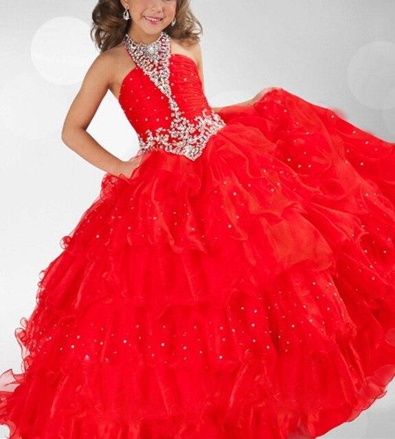 Cute Custom-Made Ball-Gown Halter Sweetheart Heavy Beaded Sequins Girls Birthday Dresses
