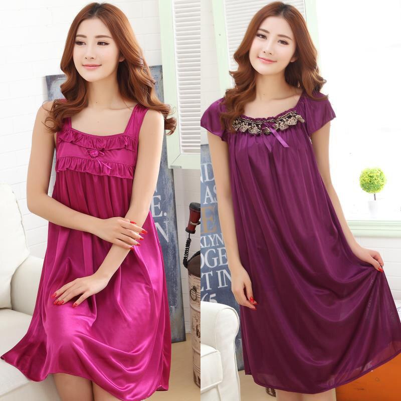 Ladies Sexy Silk Night Dress Girls Short Sleeve Night V neck Nightgown Plus Size Women's Nightdress Lace Sleepwears Nightwear