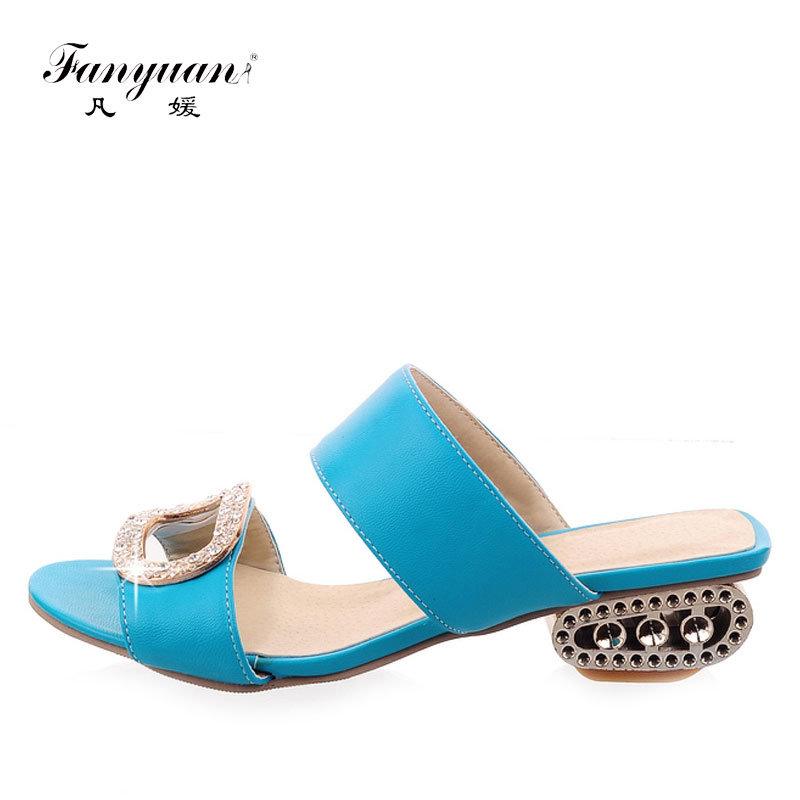 Summer Shoes Outdoor Slippers Casual Slip-on Low Heel Slides Mental Heel Party Shoes