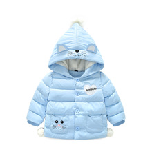2018 Infant Winter Jacket Cartoon Cat  Hooded Snow Wear Children Outerwear Jackets Coats