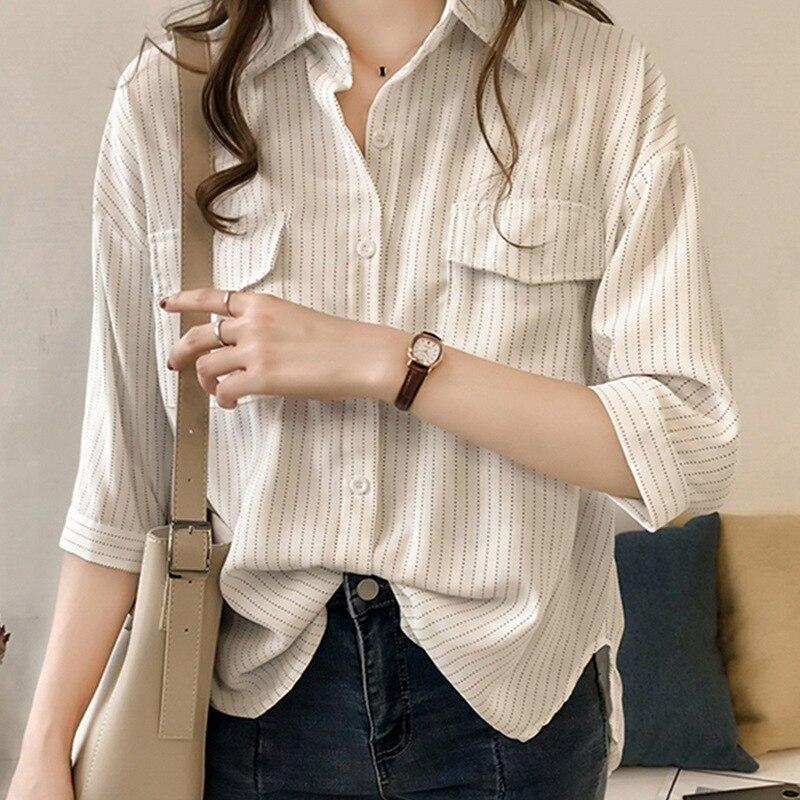 Korean Style Fashion Striped Half Sleeve Pockets Shirts Women Blouses Shirts Autumn Casual Turn-down Collar Blouses Tops Female