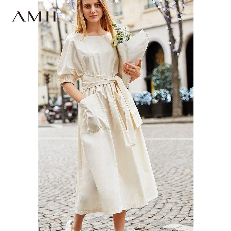 Amii Minimalist Cotton Dress Women 2019 Spring Summer 100% O Neck Short Sleeve Solid Belt Lace Up Female  Elegant