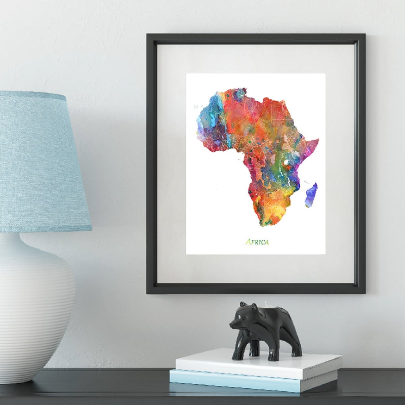 Africa Map Prints Living Room Decor