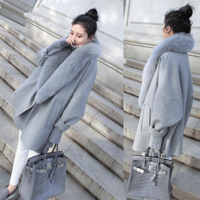 Elegant Women Spring Wool Coats Fur Collar Plus Size Grey Warm Loose Woolen Coat Fashion Thicken Long Jackets casaco feminino-in Wool & Blends from Women's Clothing    1
