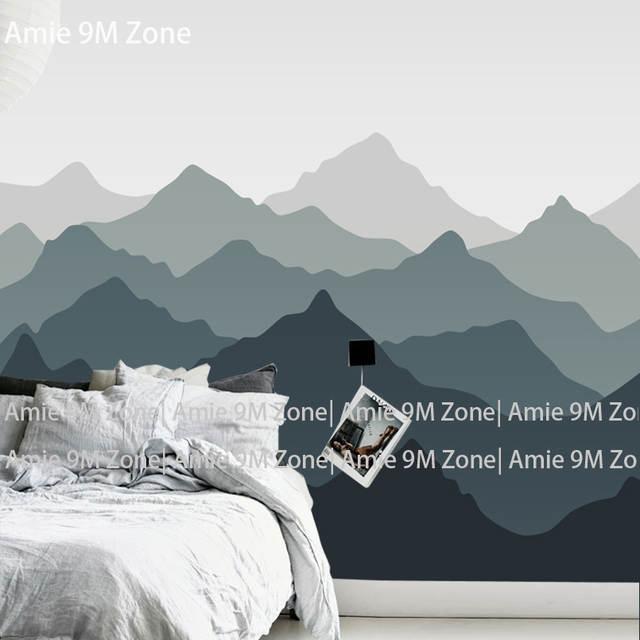 Tuya Art Dark And Light Grey Mountains Design Wallpaper For Living
