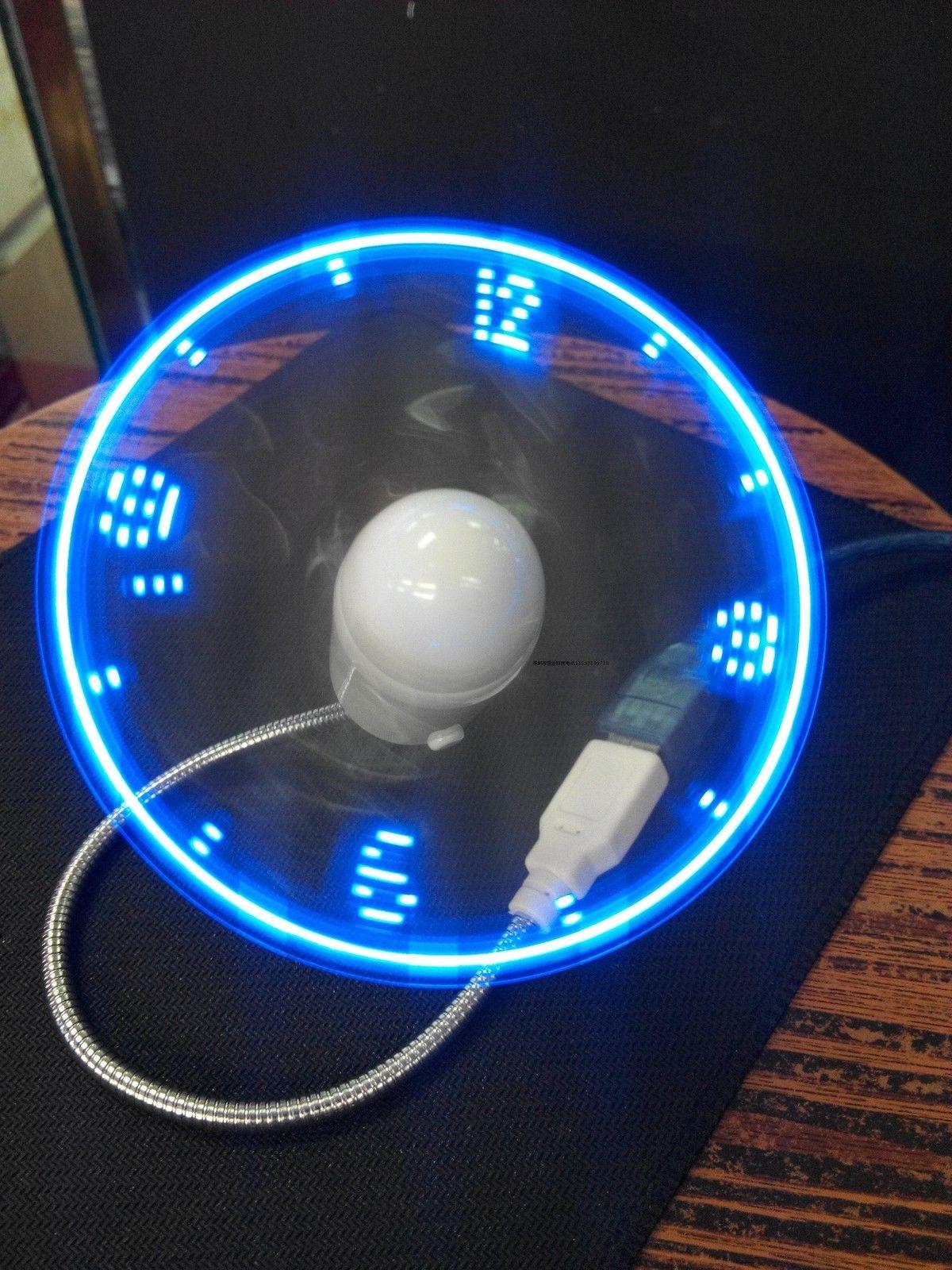 Blue Durable Adjustable USB Gadget Mini Flexible LED Light USB Fan Time Clock Desktop Clock Cool Gadget Time Display