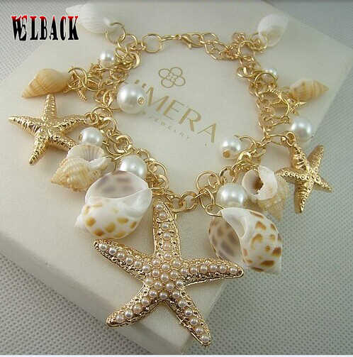 2019 Hot Selling Ocean Style Multi Starfish Sea Star Conch Shell Pearl Chain Beach Bracelet Bangle Novelty Holiday Accessories