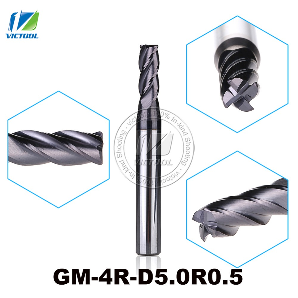 3pcs/Lot GM-4R-D5.0R0.5 Cemented Carbide End Mills 4-Flute R End Mills Straight Shank Milling Cutter Metal Drill Bits Cutting 5pcs lot free shipping zcc gm 4e d2 0s cemented carbide 4 flute 2mm flattened end mills with straight shank cnc milling cutter