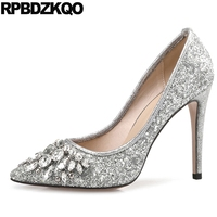 10 42 Silver Crystal Bling Glitter Shoes Bride Party Evening Wedding Ladies 12 44 Rhinestone Dress Summer Prom Pumps Bridal Sexy