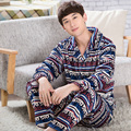 High quality winter pijamas hombre plus size mens triple thick warm tracksuit suitXXXL quilted pajamas flannel sleepwear men
