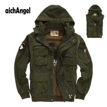New Military Mens Tactical Jacket Multi-pocket Detachable Sleeves US Army Air Force Pilots Jacket Coat Men Outwear
