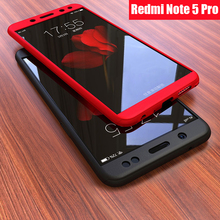 Plastic Hard 360 Full Protect Case Xiaomi Redmi Note 5 Pro Tempered Glass + Back Cover /
