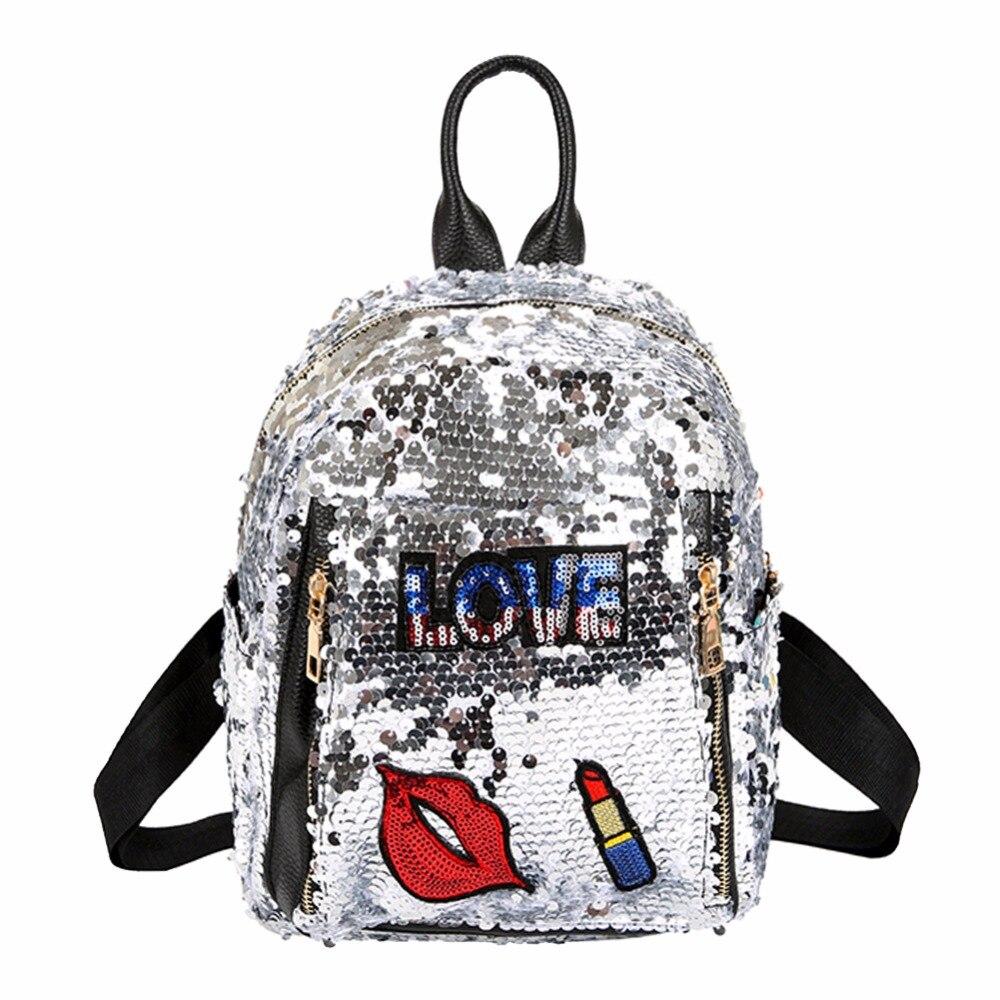 все цены на 2018 Sequins Backpacks for Teenager Girls PU mochila Shine Backpack Glitter Large Girls Travel Shoulder Bags School Bag female онлайн