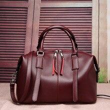 2016 New Women 's Bag European and American Fashion Cowhide Boston Bag Shoulder Messenger Bag Leather Ladies Bag
