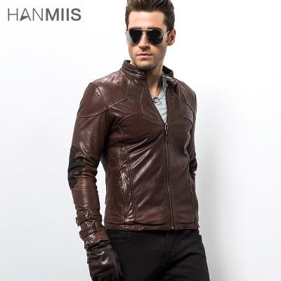 free shipping cross genuine leather male clothing rivet single motorcycle jacket sheepskin leather coat