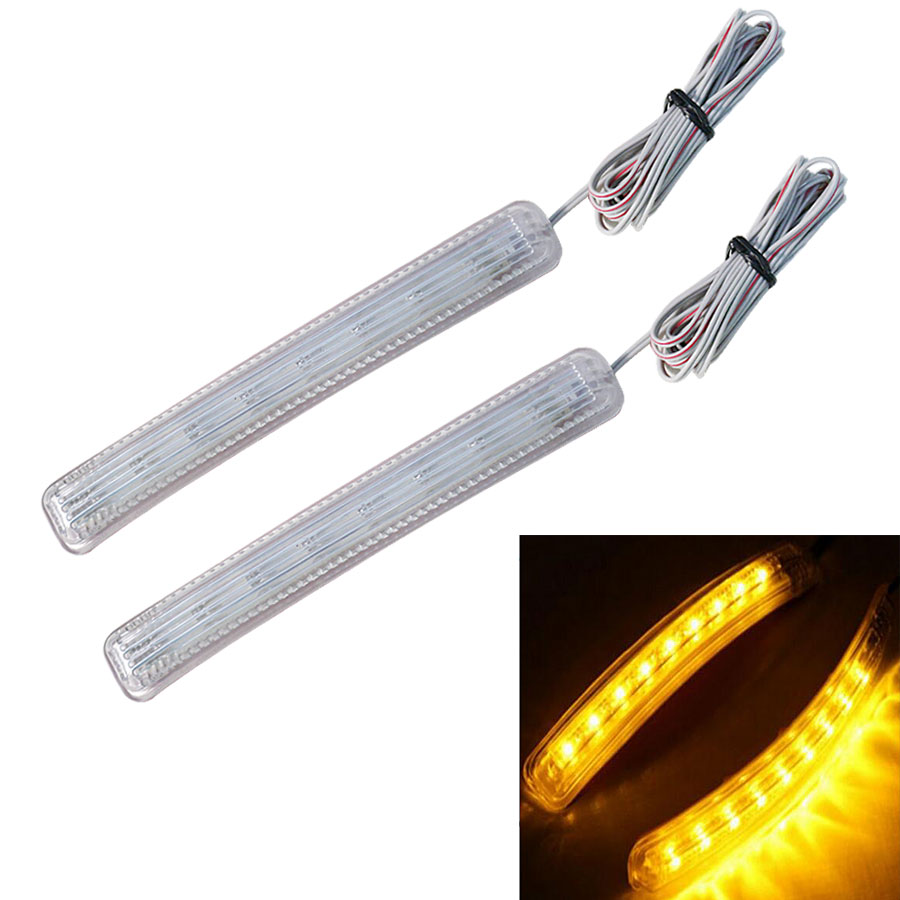 Amber White LED Car Light Source Auto Rearview Mirror FPC Turn Signal Lights Lamp New Arrival Universal Car 2PCS Pair 9 SMD