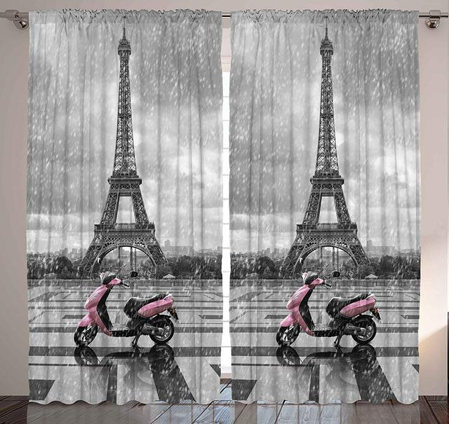 Grey Curtains Eiffel Tower Paris Scene Gray And Pink Monochrome Bedroom Living For Kids Dining Room Window Drapes