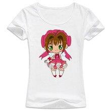 Sakura tarjeta captor Venta caliente camiseta de verano mujeres historieta  encantadora buena calidad original marca camisetas ca. 45052612612f