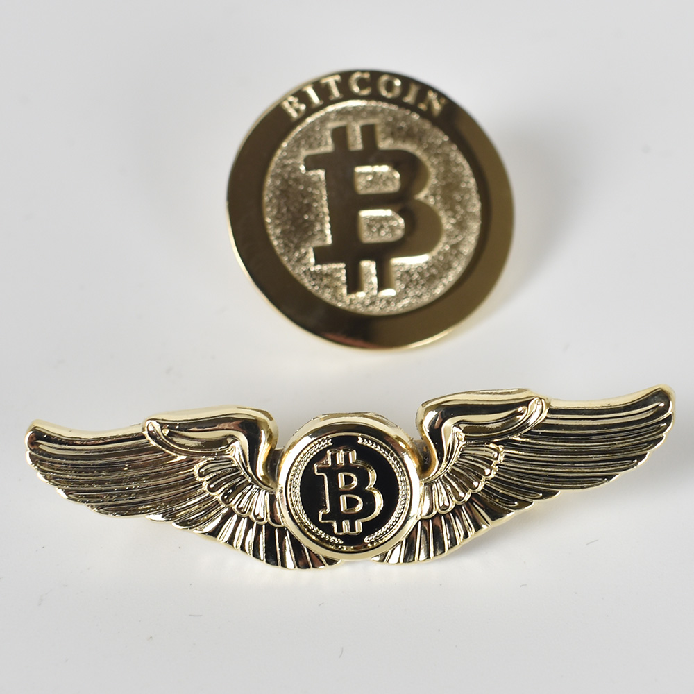 1pc BitCoin Coin Badge Round Wing Fly Gold Plated Bit coin cryptocurrency Metal For Cloth