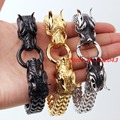 Heavy Dragon Heads Clasp Biker Bracelets Men's Jewelry 316l Stainless Steel Silver or gold or Black Figaro Chain Charm Gift 8.6""
