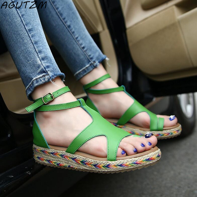 be2e754fbdb2 AGUTZM Women Sandals Fashion Straw Shoes Woman Summer Wedges Sandals Ankle  Strap Casual Ladies Flat Sandals