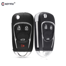 KEYYOU Folding Flip 3 4 Buttons Remote Car Key Shell Cover Fob For Chevrolet Cruze Equinox Impala Malibu Sonic Camaro