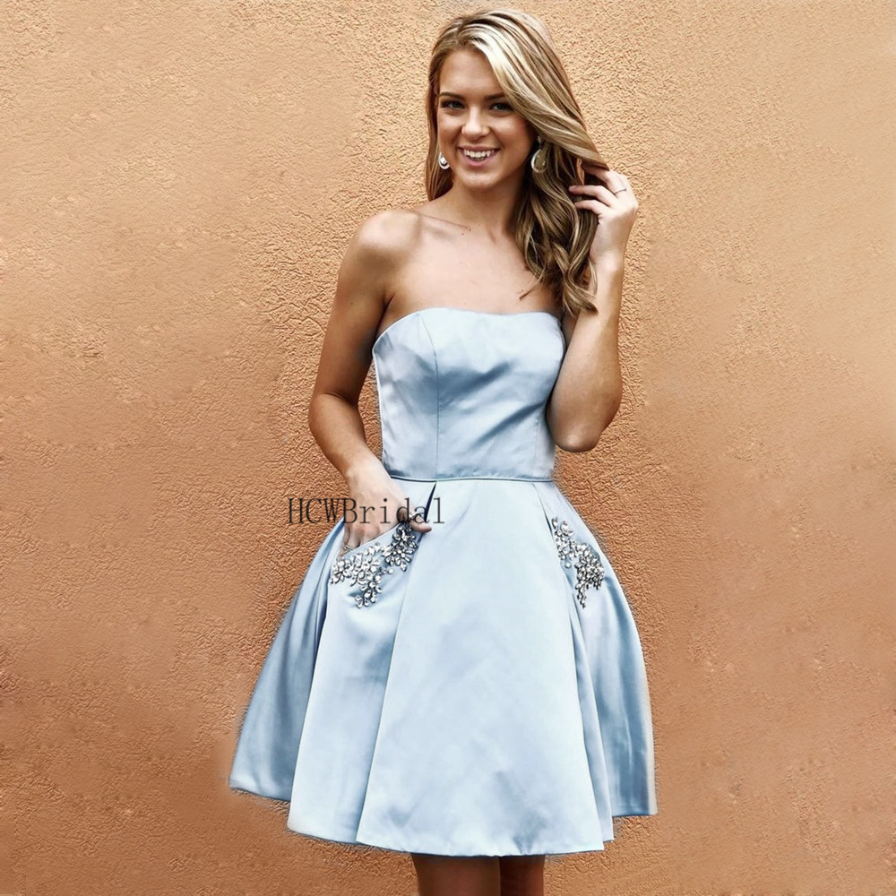 Mint Blue Short   Prom     Dresses   Strapless A Line Crystals Pockets Sexy Women Party   Dress   2019 Hot Selling Satin Evening Gowns Cheap