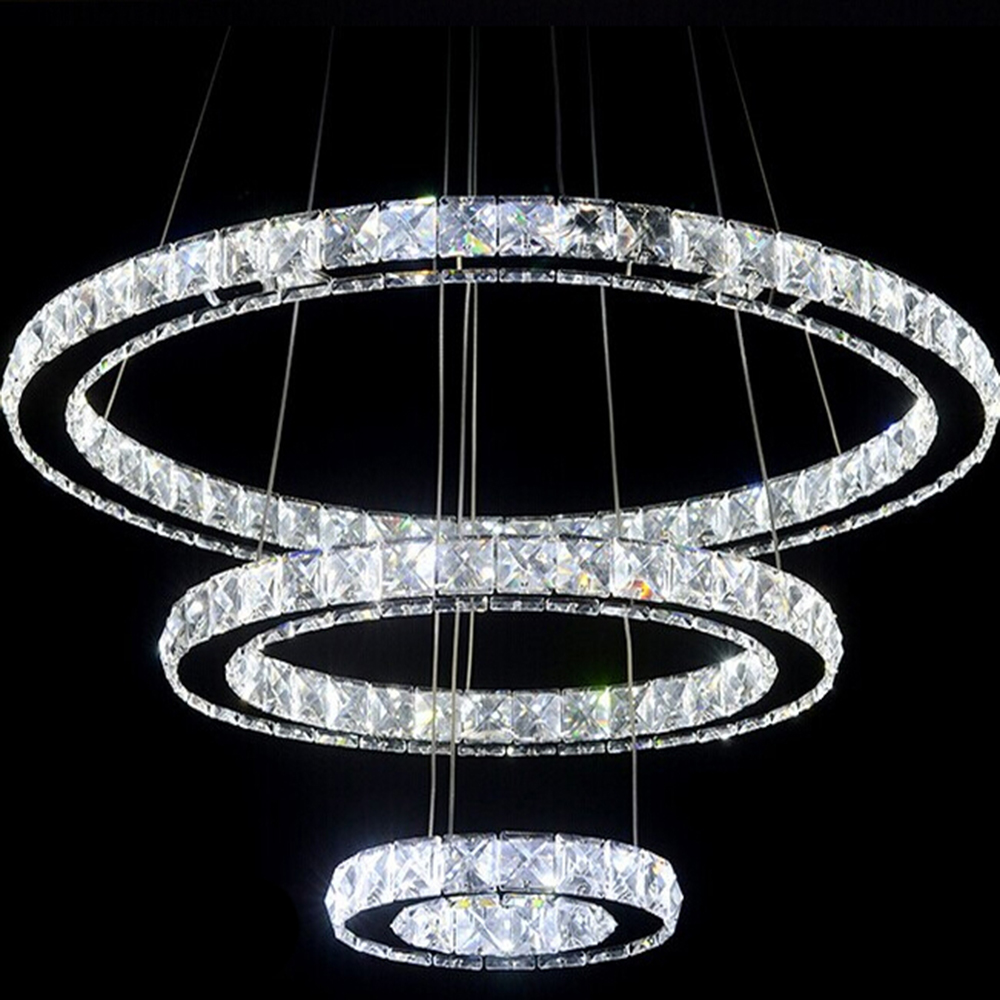 Modern led crystal chandelier light fixture for living room dining modern led crystal chandelier light fixture for living room dining room decorative hanging lamp diamond 3 rings chandeliers in pendant lights from lights arubaitofo Images
