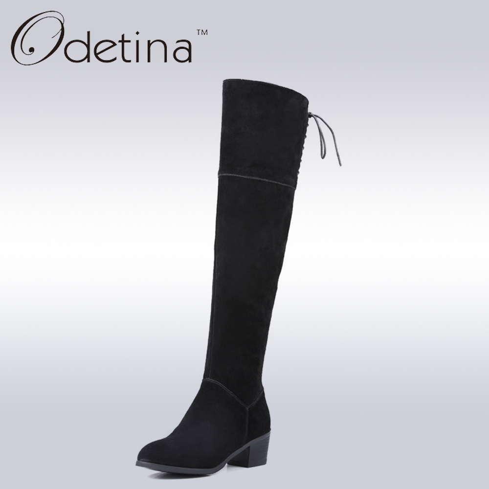 ФОТО Odetina Sexy Thigh High Boots Suede Leather Large Size Blue Over The Knee High Heel Boots Women 2016 Winter Ladies Long Boots