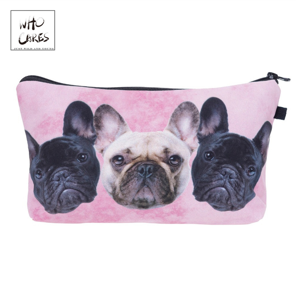 Who Cares Fashion Printing Bulldog Trio Pink Makeup Bags Cosmetic Organizer Bag Ladies Pouch Women Cosmetic Bag