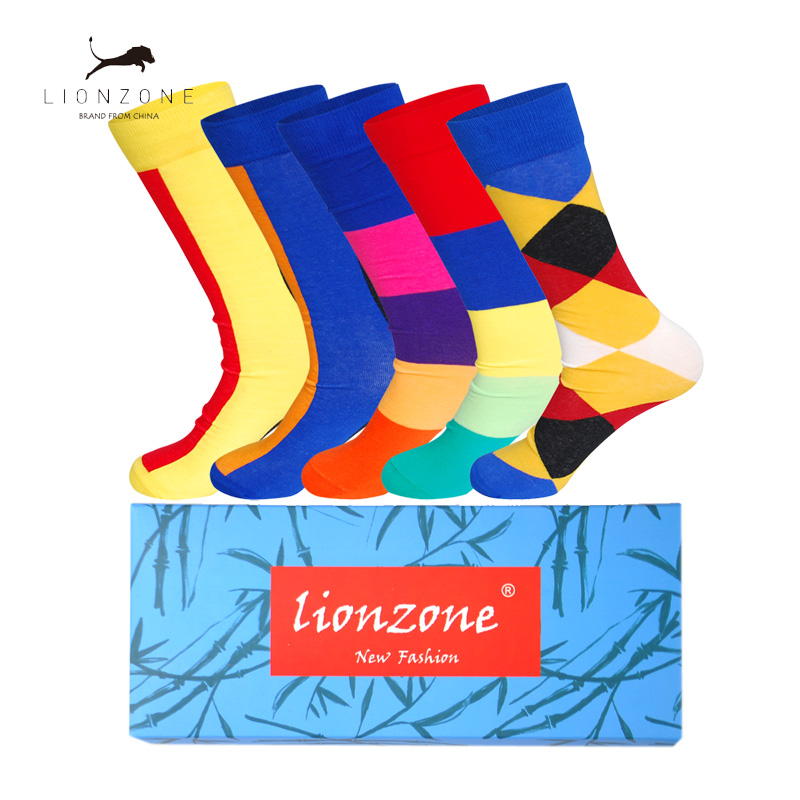 Mens Casual Combed Cotton Socks With Bright-coloured Stripe Design Straight Long Tube Happy Funny Dress Socks 5Pairs/Lot