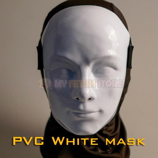 (DM506)PVC white human face mask fetish wear