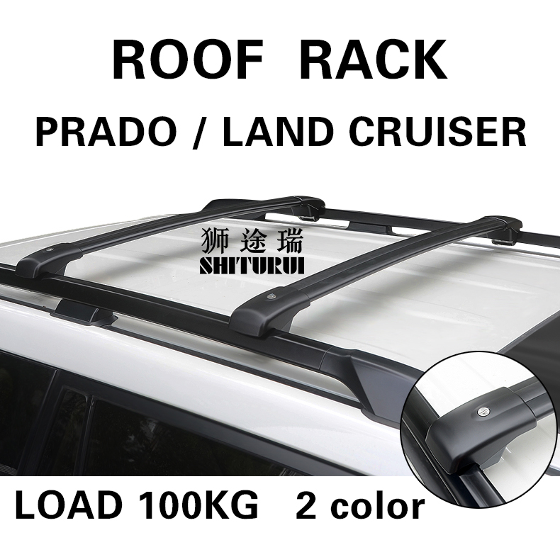 2Pcs Car Roof Rack Cross Bar FOR Toyota PRADO LAND CRUISER 2700 5700 Top Cargo Luggage Carrier For Auto Offroad 2016 2017 2018 one pair car adjustable black front rear roof top rack cross bar for toyota 2013 2017 rav4