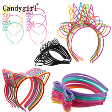 Girls's Cat ears Headbands Crown Tiara Princess With Plastic Animal hair Band Butterfly Bow Hoop Accessories boho headwear girl(China)