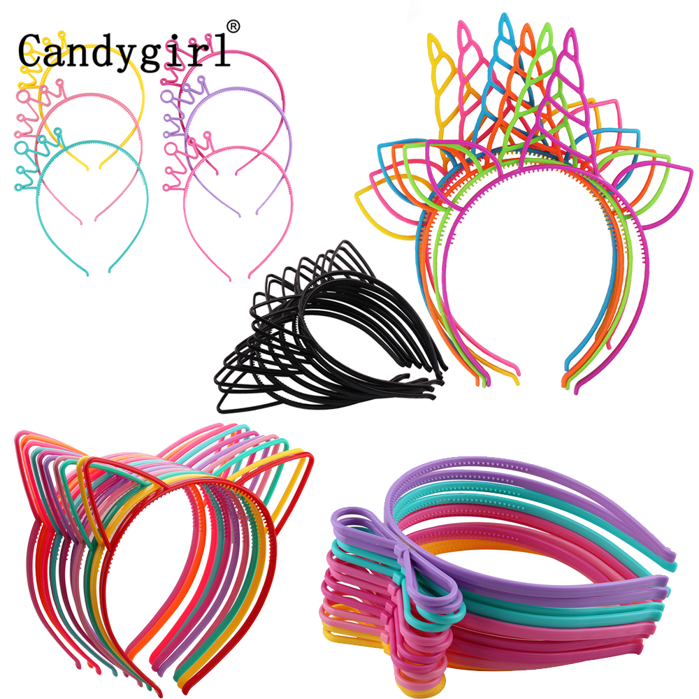 Girls's Cat Ears Headbands Crown Tiara Princess With Plastic Animal Hair Band Butterfly Bow Hoop Accessories Boho Headwear Girl