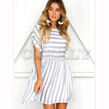 Cuerly 2019 Summer New Fashion Dress Women Casual Striped Printed A-line Party Dress Short Sleeve O neck Vintage Mini Dress