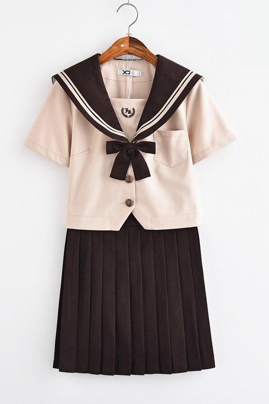 Nouveau japonais/coréen mignon filles marinière costume étudiant école uniformes vêtements tenues courtes/longues manches chemises + jupe ensembles - 4
