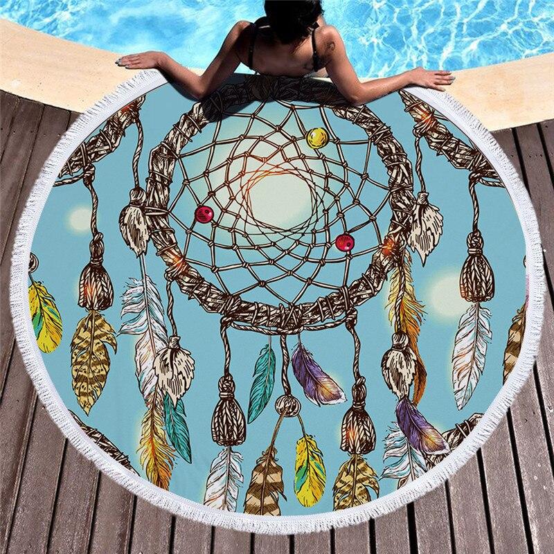 Bohe Ловец снов печать круглое пляжное полотенце 150 см большие банные полотенца из микрофибры для взрослых женщин бикини накидка для пляжа од