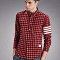 2017 Chegou Novo Longa Camisa Xadrez Homens Longo Seeve Camisas de Flanela de Algodão Listrado Casuais Masculinos Camisas de Vestido Da Marca de Moda X526