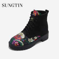 Sungtin Winter Fashion Flower Embroidery Lace Up Ankle Boots Women Motorcycle Short Boots Female Punk Booties Suede Casual Shoes
