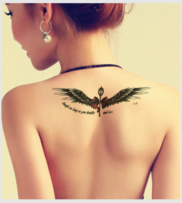 Waterproof temporary tattoo stickers cute black wings for Large letter temporary tattoos